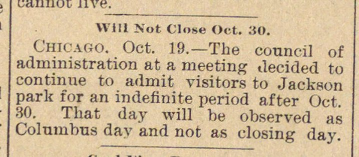 Will Not Close Oct. 30 image