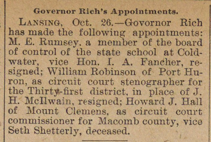 Governor Rich's Appointments image