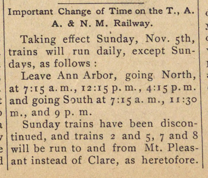 Important Change Of Time On The T., A. A. & N. M. Railway image