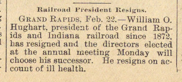 Railroad President Resigns image