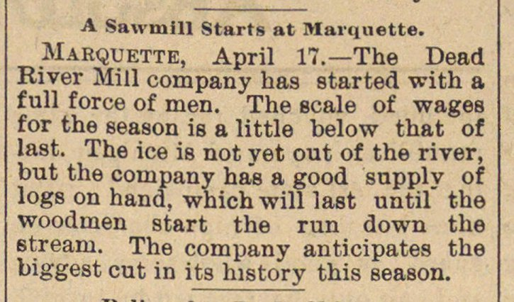 A Sawmill Starts At Marquette image
