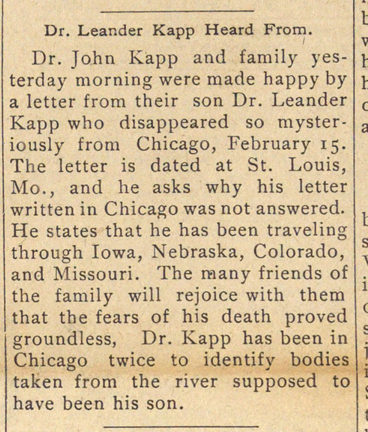 Dr. Leander Kapp Heard From image