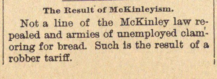 The Result Of Mckinleyism image