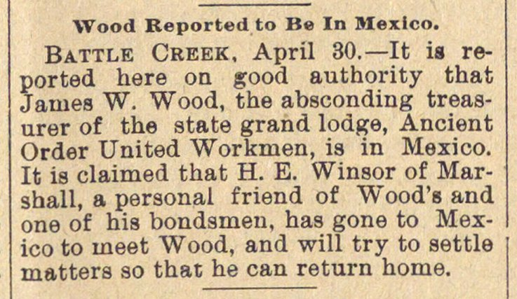 Wood Reported To Be In Mexico image