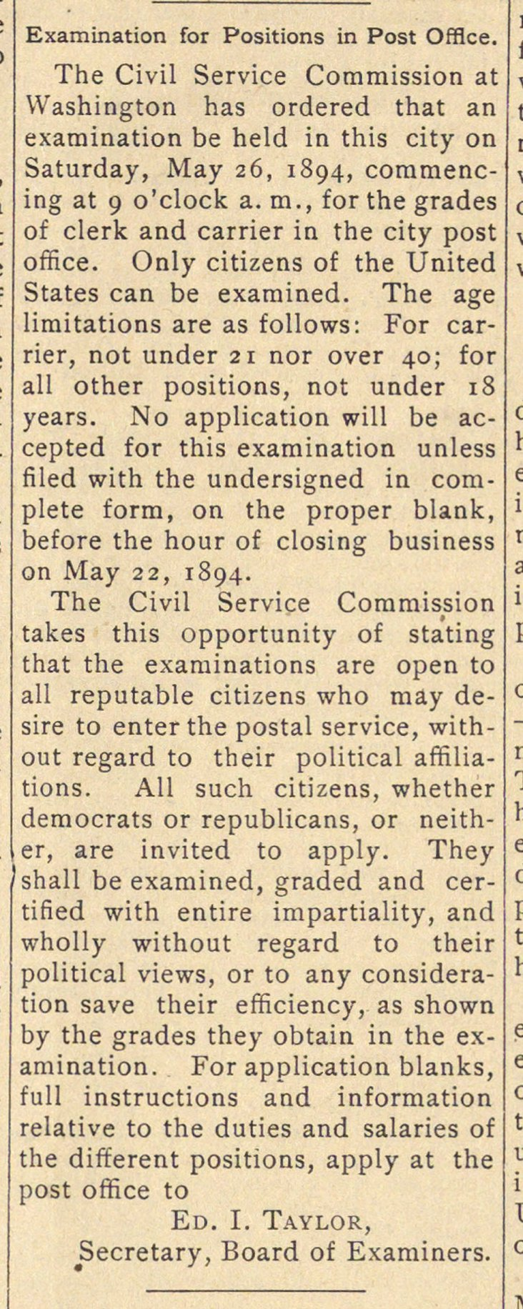 Examination For Positions In Post Office image