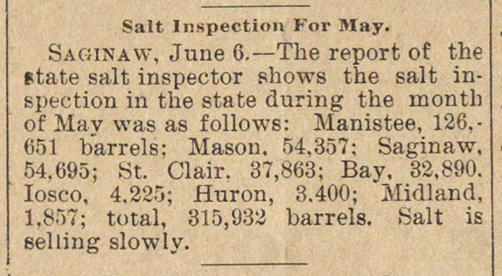 Salt Inspection For May image