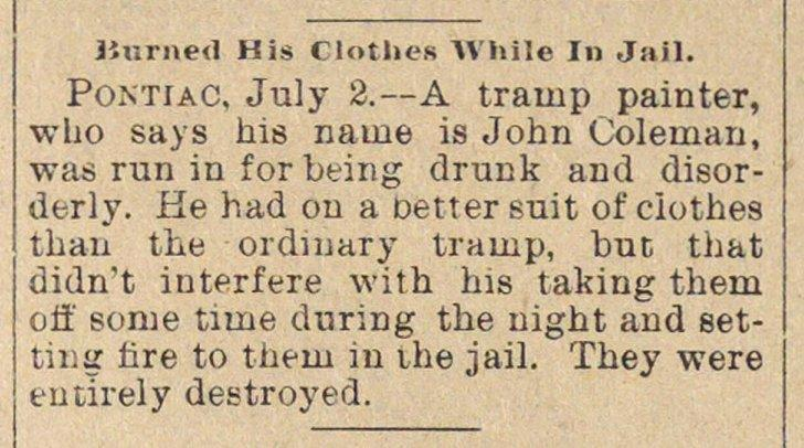 Burned His Clothes While In Jail image