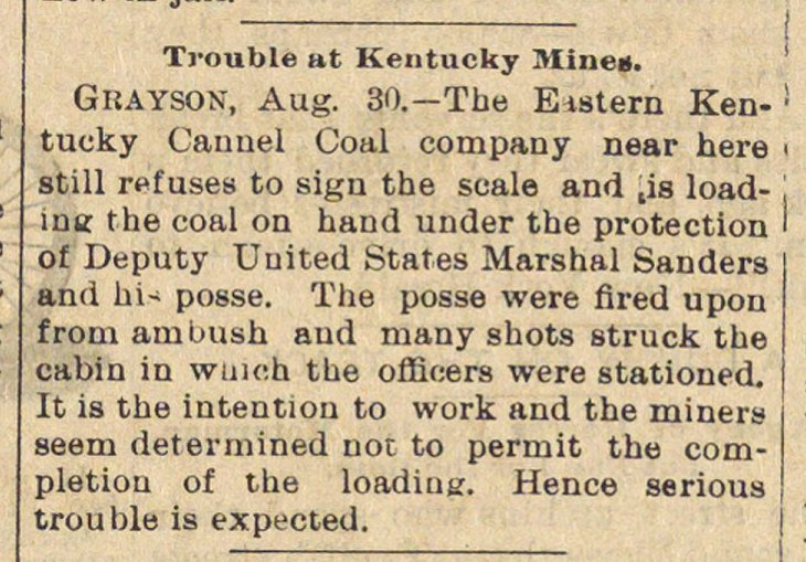 Trouble At Kentucky Mines image
