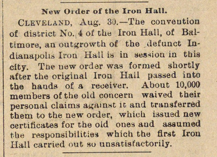 New Order Of The Iron Hall image