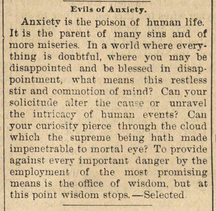 Evils Of Anxiety image