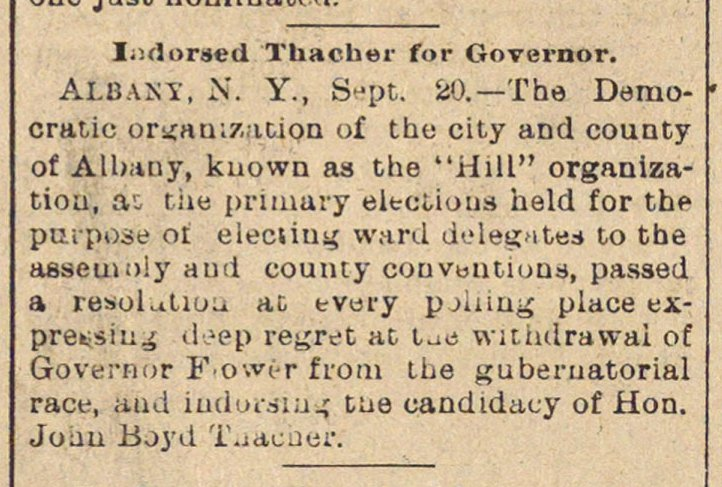Indorsed Thacher For Governor image