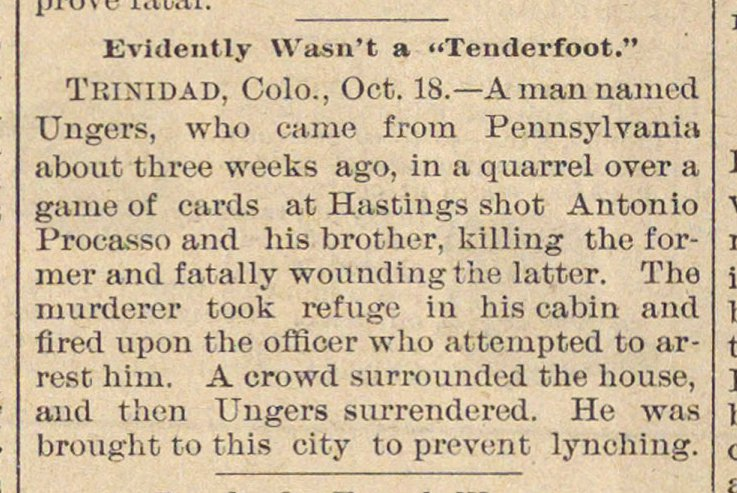 "Evidently Wasn't A ""tenderfoot."" image"