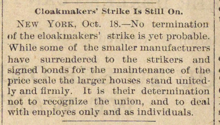 Cloakmakers' Strike Is Still On image