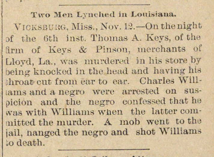 Two Men Lynched In Louisiana image