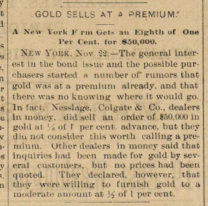 Gold Sells At A Premium image