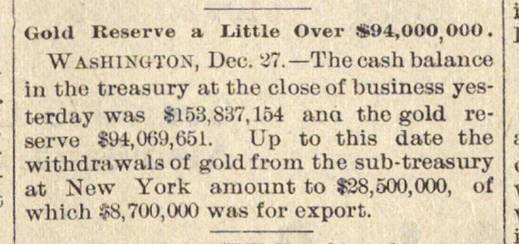 Gold Reserve A Little Over $94,000,000 image