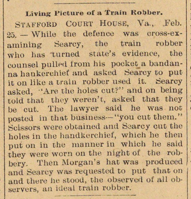 Living Picture Of A Train Robber image