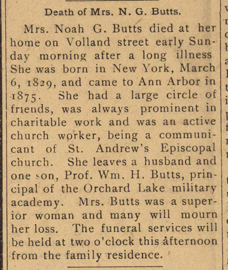 Death Of Mrs. N. G. Butts image
