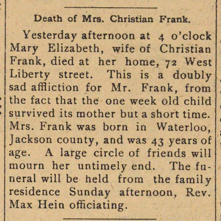 Death Of Mrs. Christian Frank image