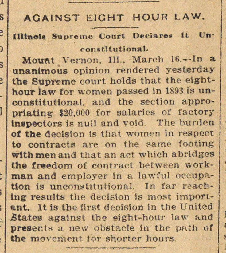 Against Eight Hour Law image
