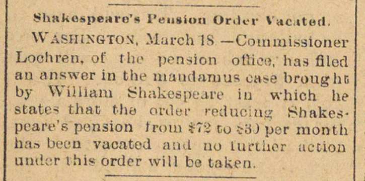 Shakespeare's Pension Order Vacated image