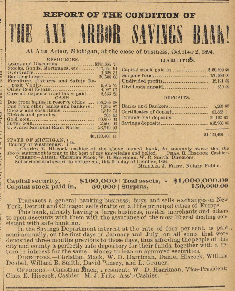 The Ann Arbor Savings Bank! image