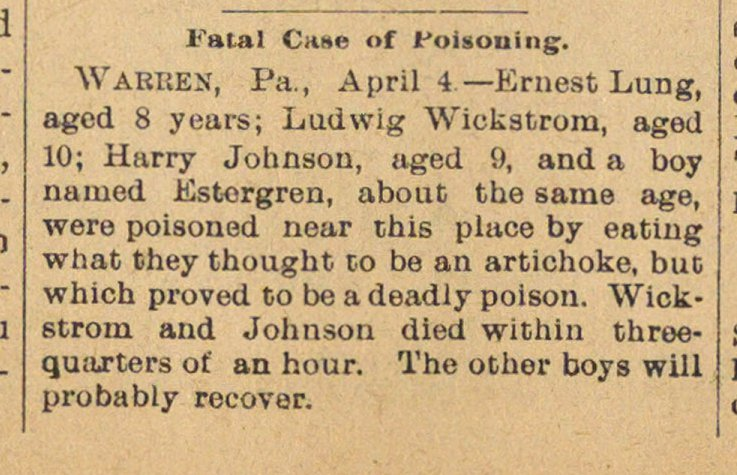 Fatal Case Of Poisoning image