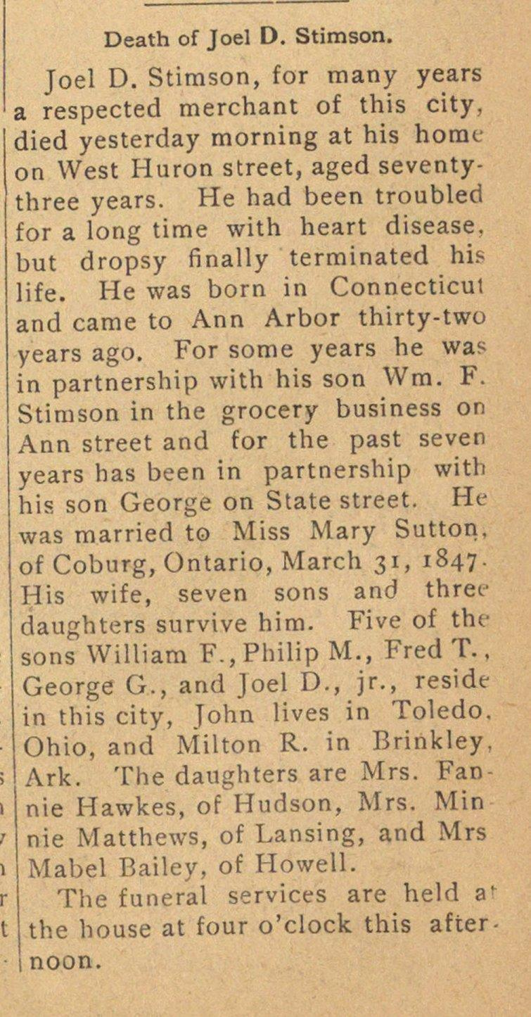 Death Of Joel D. Stimson image