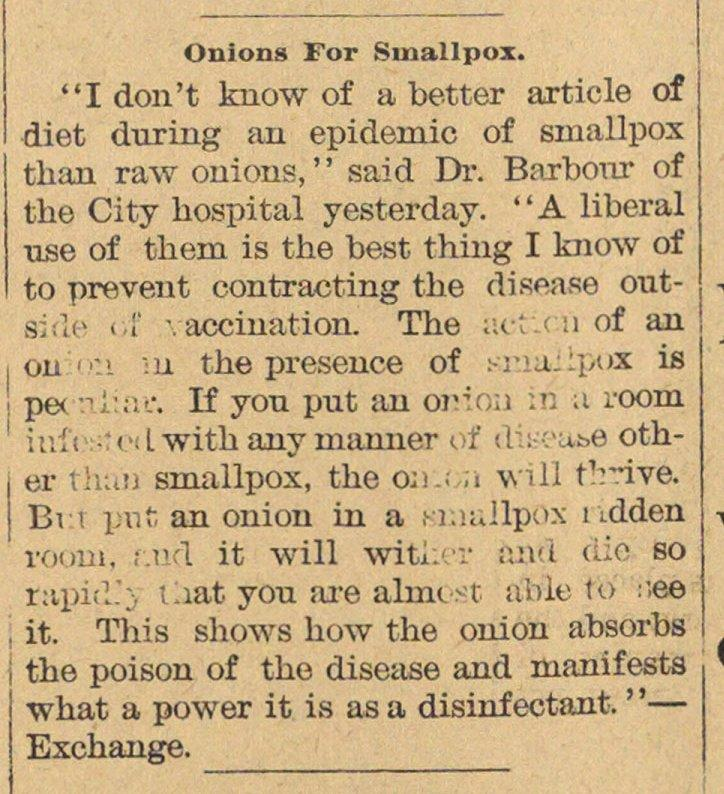 Onions For Smallpox image