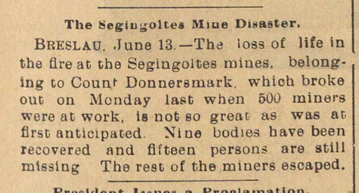 The Segingoltes Mine Disaster image