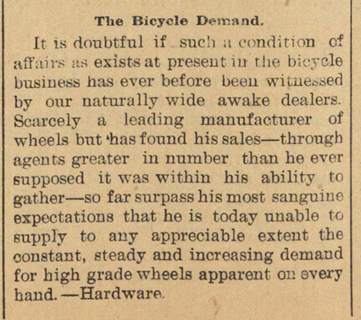 The Bicycle Demand image