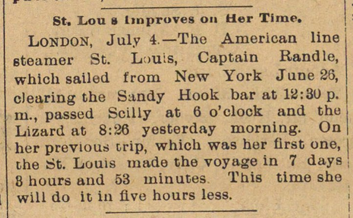 St. Louis Improves On Her Time image