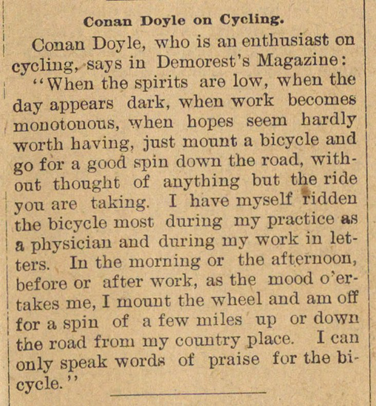 Conan Doyle On Cycling image