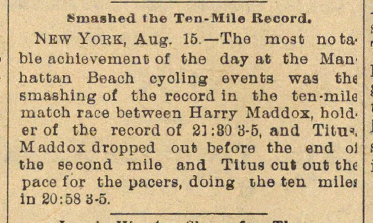 Smashed The Ten-mile Record image