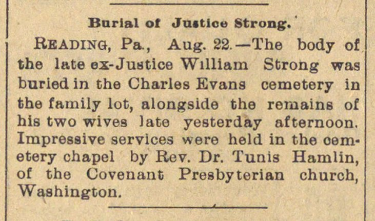 Burial Of  Justice Strong. image