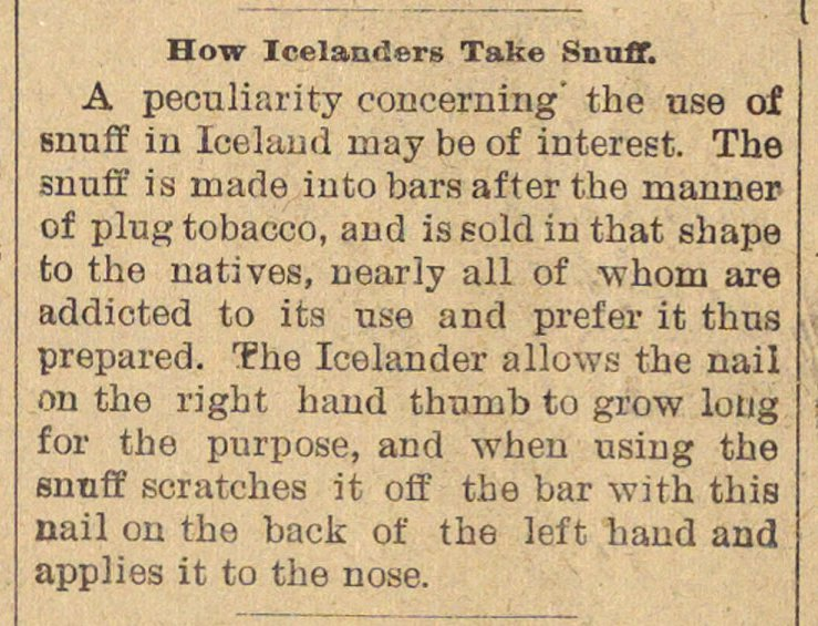 How Icelanders Take Snuff image