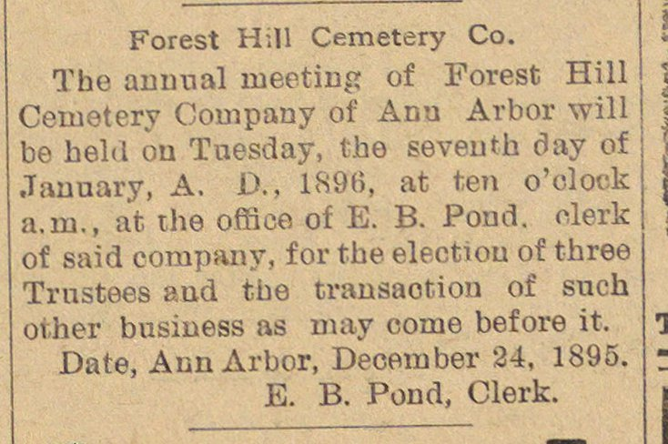 Forest Hill Cemetery Co. image