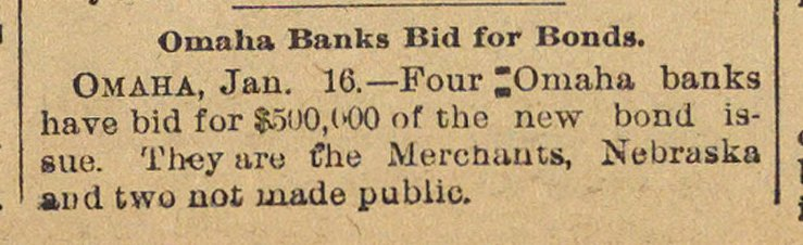 Omaha Banks Bid For Bonds image