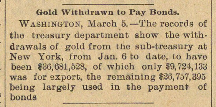Gold Withdrawn To Pay Bonds image