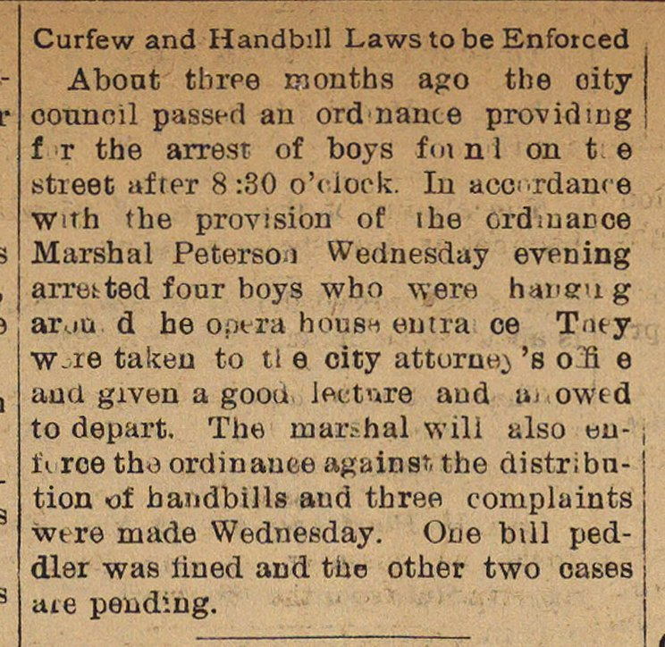 Curfew And Handbill Laws To Be Enforced image