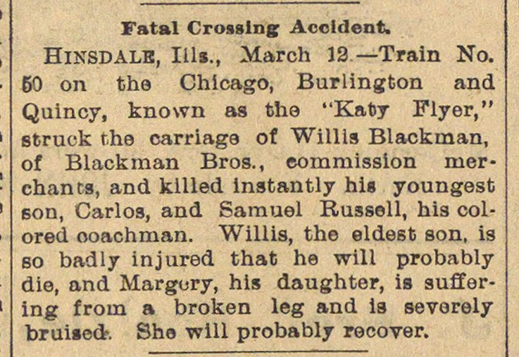 Fatal Crossing Accident image