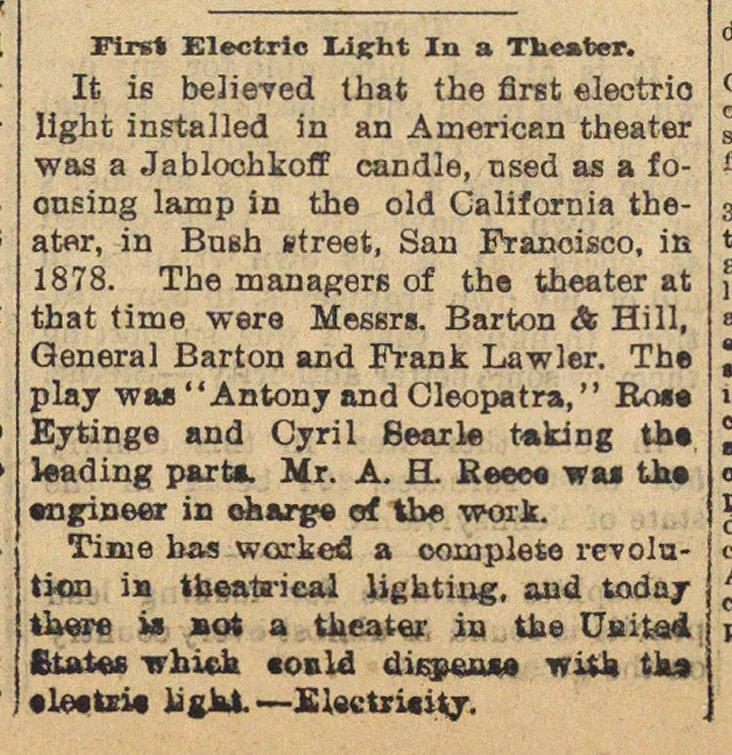 First Electric Light In A Theater image
