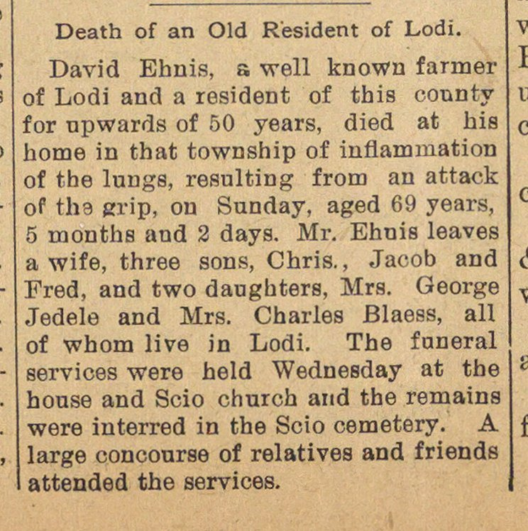 Death Of An Old Resident Of Lodi image
