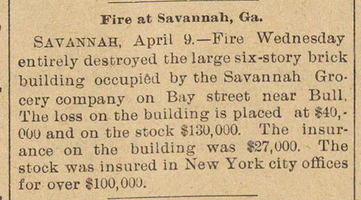 Fire At Savannah, Ga. image