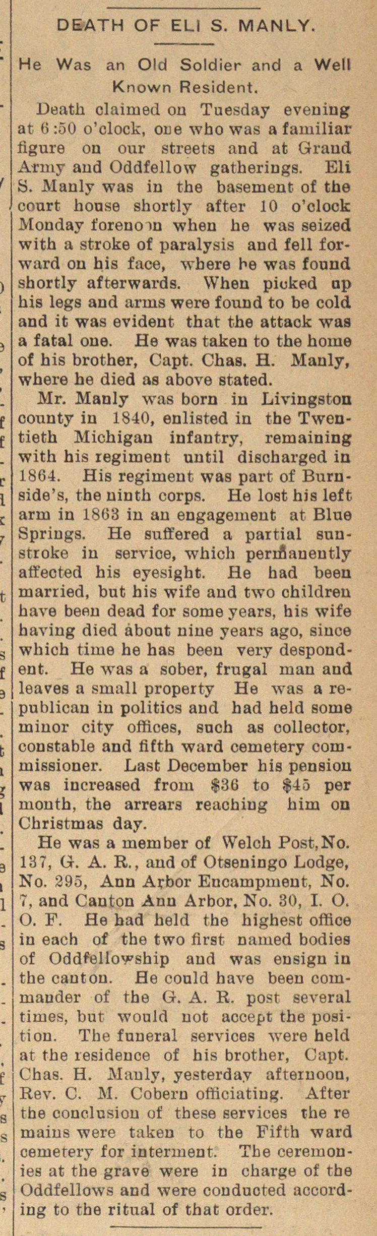 Death Of Eli S. Manly image