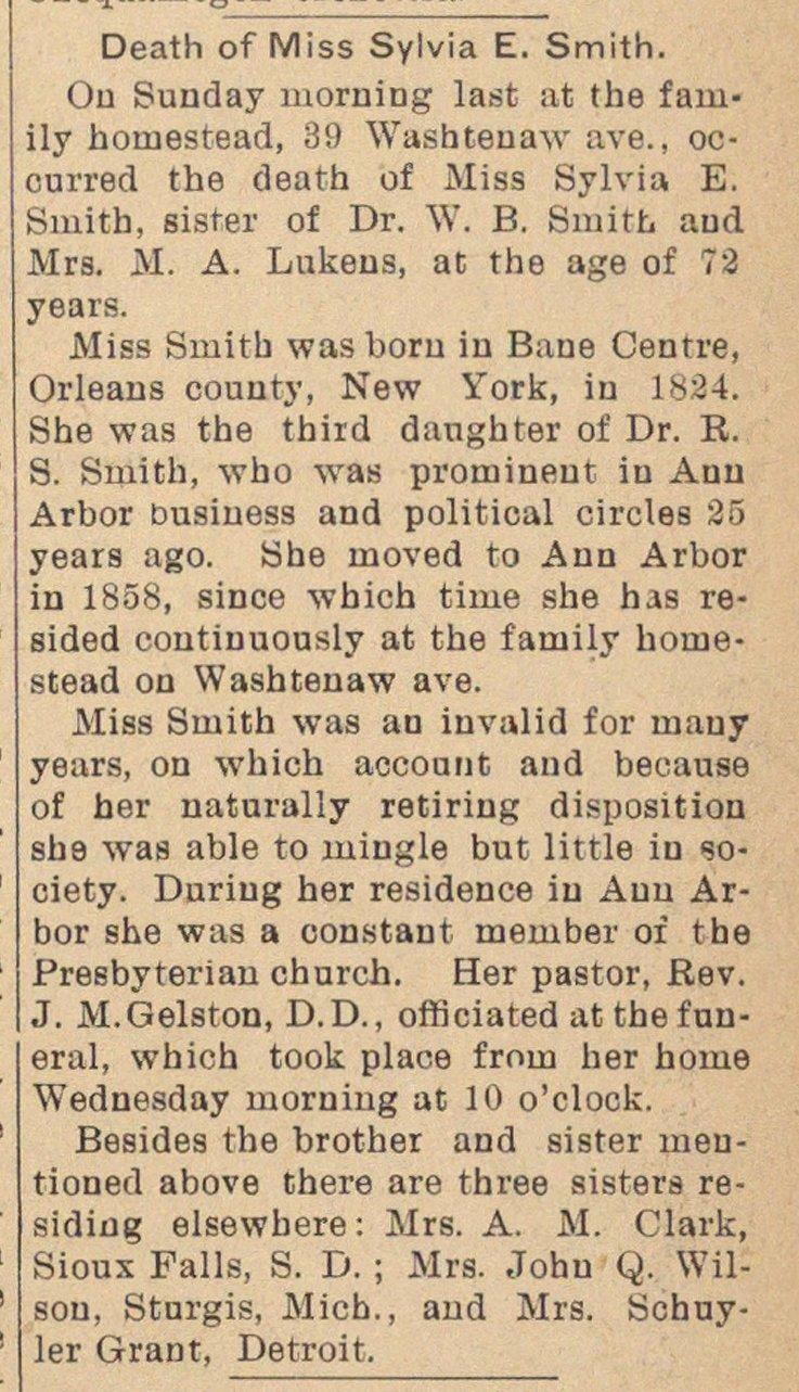 Death Of Miss Sylvia E. Smith image