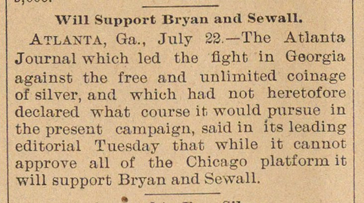 Will Support Bryan And Sewall image