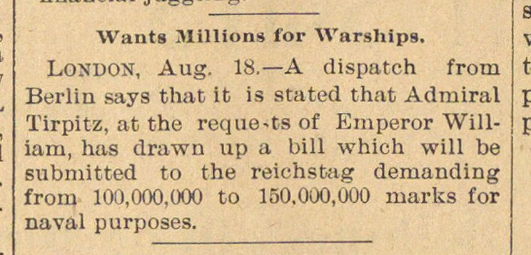 Wants Millions For Warships image