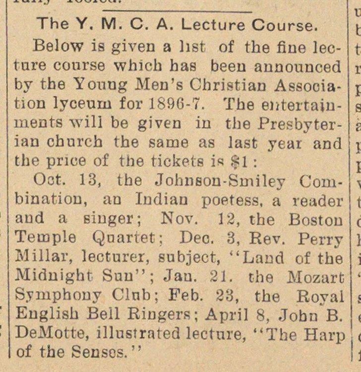 The Y. M. C. A. Lecture Course image