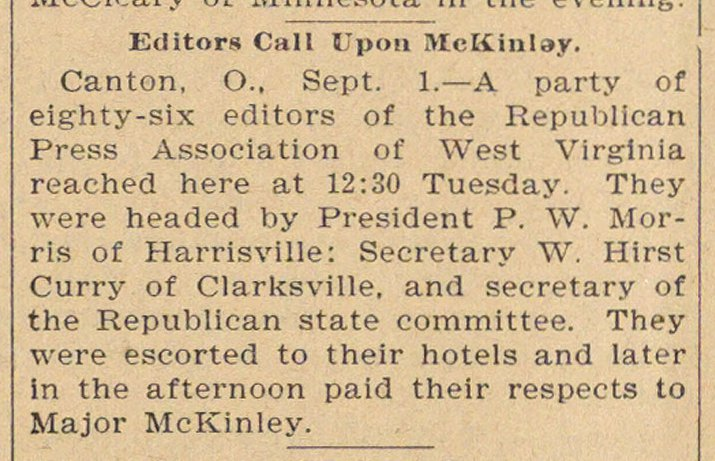 Editors Call Upon Mckinley image
